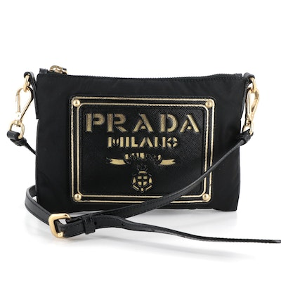 Prada Black and Gold Saffiano Leather and Nylon Pouch with Detachable Strap