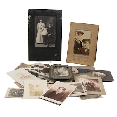 Family Portrait Silver Print Photographs, Late 19th-Early 20th Century