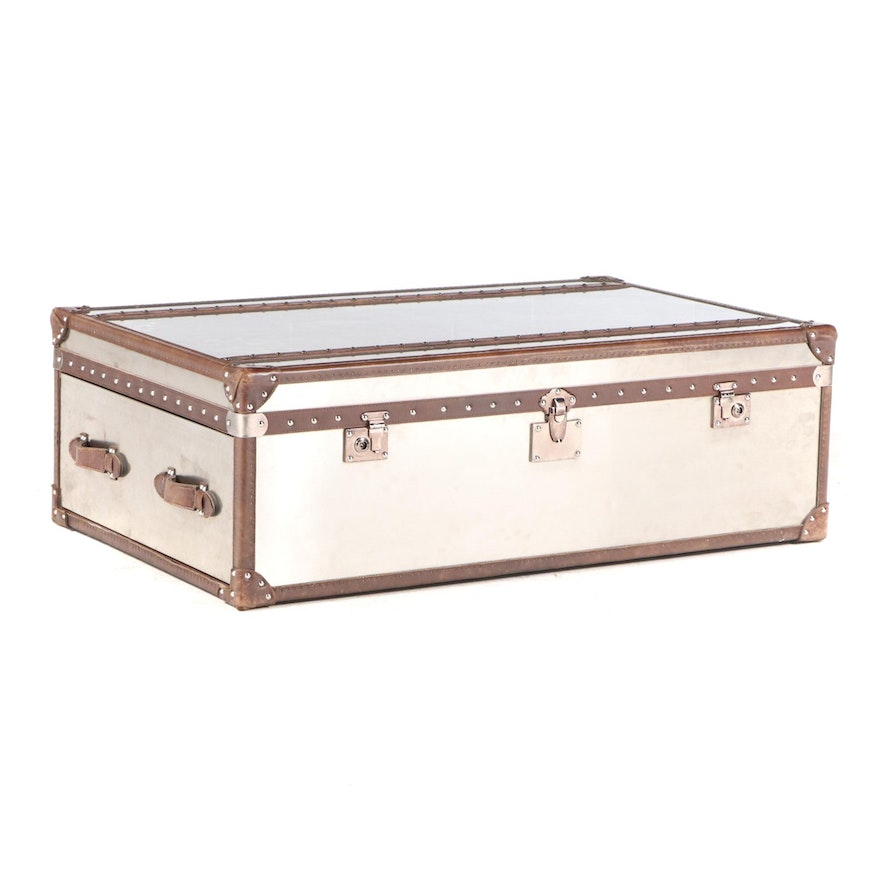 Restoration Hardware Leather-Bound Stainless Steel Trunk-Form Coffee Table