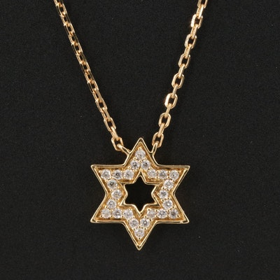 18K Diamond Star of David Pendant