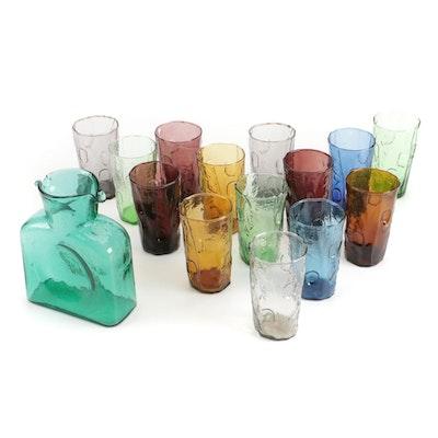 Blenko Handblown Art Glass Water Bottle and Tumblers