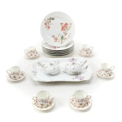 Delinières & Co. Floral Porcelain Salad Plates and Other Porcelain Tableware