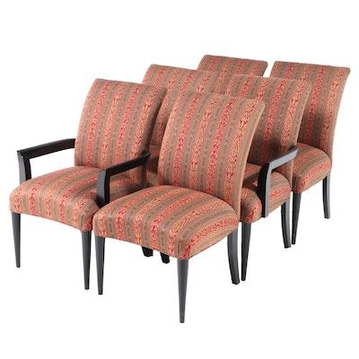 Six Ebonized Wood and Custom-Upholstered Dining Chairs