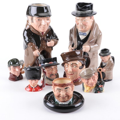 """Royal Doulton """"Winston Churchill"""" with Other Toby Jugs and Character Mugs"""