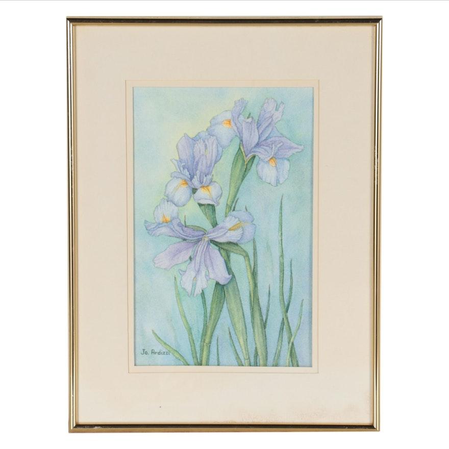 "Jo Ardizzi Watercolor Painting ""Three Iris"""