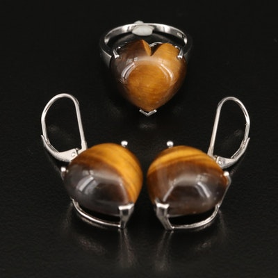 Sterling Tiger's Eye and Topaz Heart Earrings and Rings
