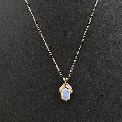 10K Opal Pendant Necklace