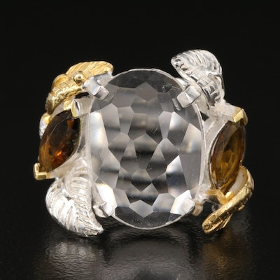 Sterling Silver Rock Crystal Quartz and Tourmaline Ring with Foliate Accents