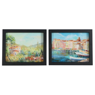 Acrylic Paintings of a Rural Landscape and Dock, 21st Century