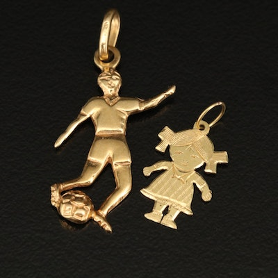 18K Soccer Player and Little Girl Charms