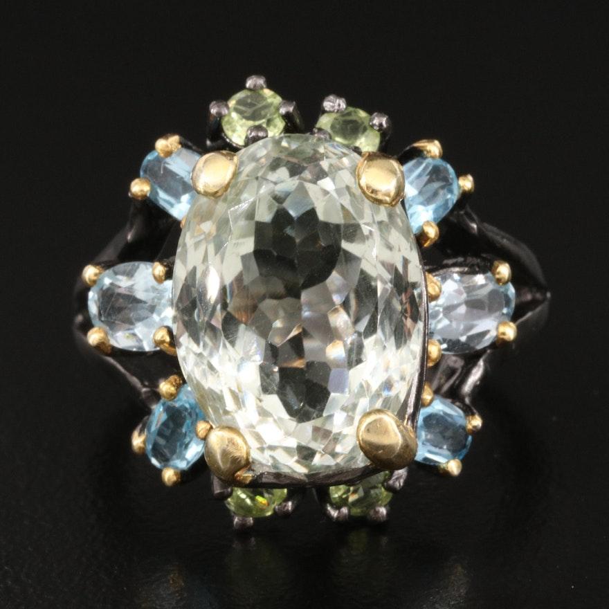 Sterling Gemstone Cocktail Ring Including Prasiolite, Topaz and Peridot
