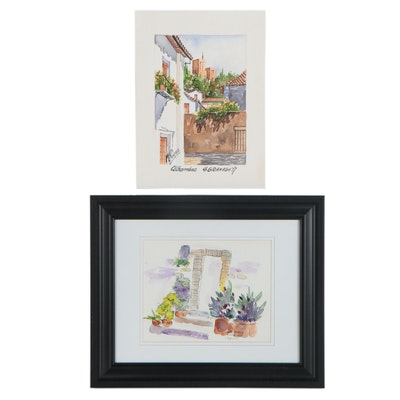 """Watercolor Paintings """"Umbria, Italy"""" and """"Alhambra, Grenada"""""""