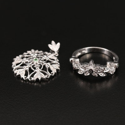 Sterling Pendant and Ring with Diamond and Gemstone
