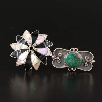 Mexican Sterling Converter Brooches with Abalone, Chrysocolla and Enamel