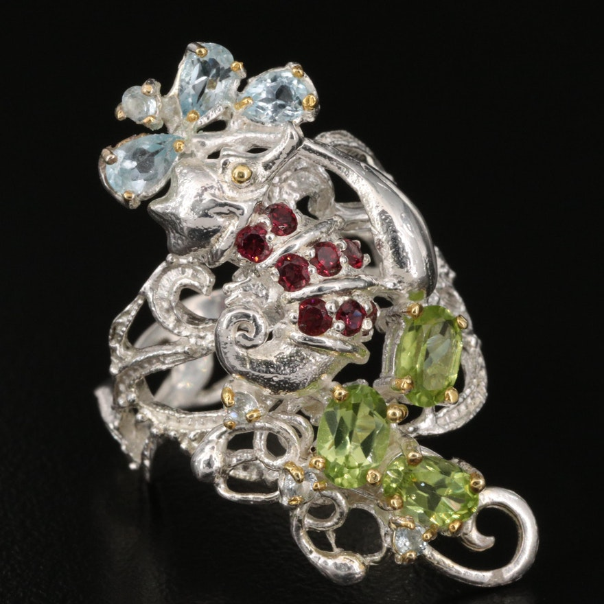 Sterling Figural Seahorse Ring with Peridot and Rhodonite, Garnet and Topaz