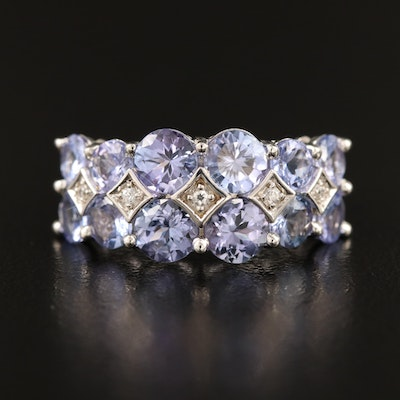 Sterling Tanzanite and Zircon Double Ring