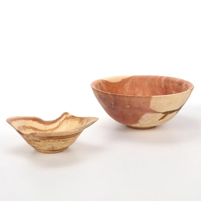 Jim Eliopulos Turned Cedar and Maple Wood Free-Form Bowls