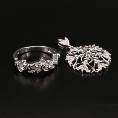 Sterling Diamond and Gemstone Ring and Openwork Pendant