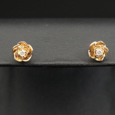 10K Diamond Flower Stud Earrings