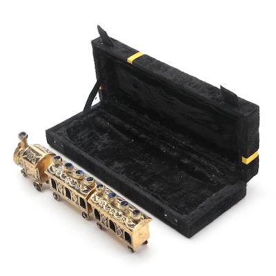 Brass Train Form Menorah with Presentation Case
