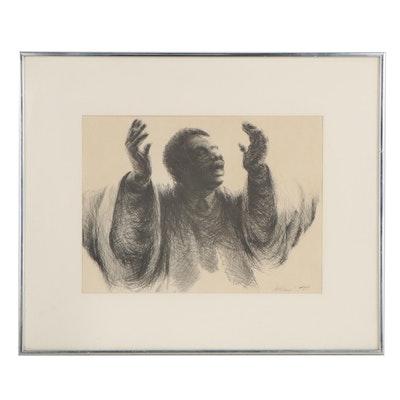"Gilbert Young Portrait Halftone ""Preacher Man,"" 1976"