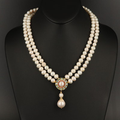 Sterling Pearl Double Strand Necklace with Topaz and Ruby Pendant