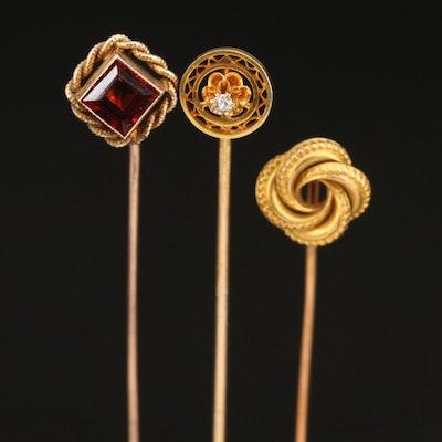 Vintage 14K and 10K Diamond and Garnet Stick Pins