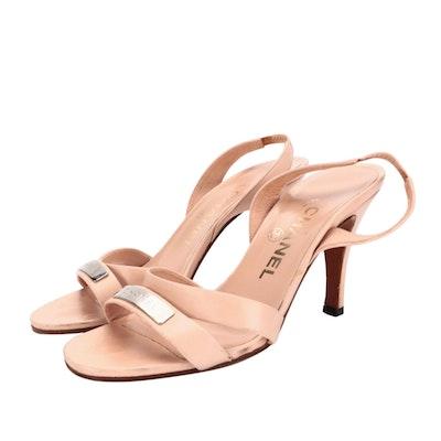 Chanel Blush Leather High-Heeled Slingback Sandals