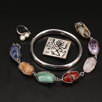 Sterling Jewelry Including Mexican Sterling Monkey Brooch and Gemstones
