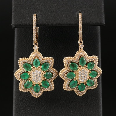 14K Emerald and Diamond Floral Star Earrings