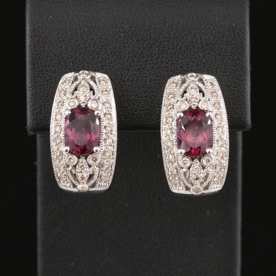 14K Rhodolite Garnet and Diamond J Hoop Earrings