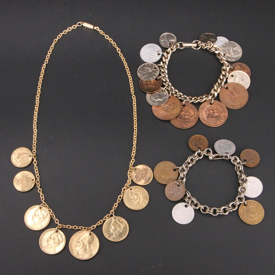 Necklace and Bracelets with Greek, South African and Other Coins