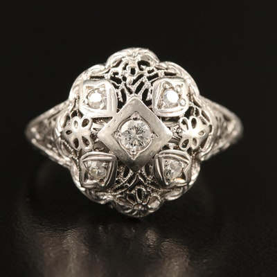 1930s 14K Diamond Openwork Ring