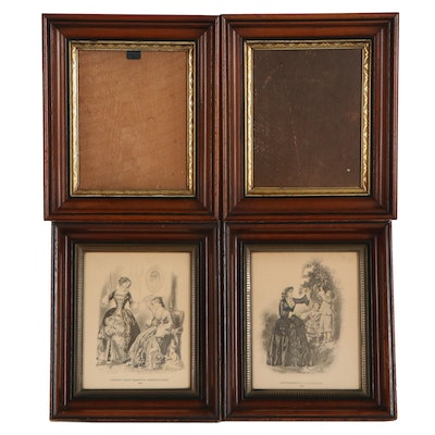 American Deep Cove Wood Wall Frames and Goodey's Fashion Prints, Anitque