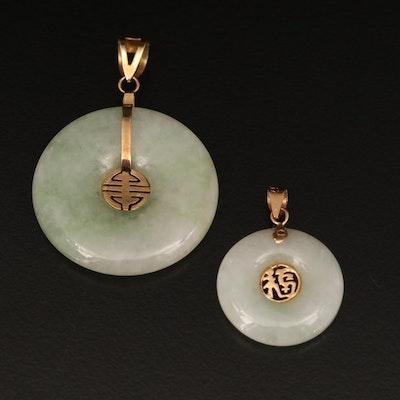 Chinese 14K Jadeite Pendants Including Good Fortune and Longevity Symbols