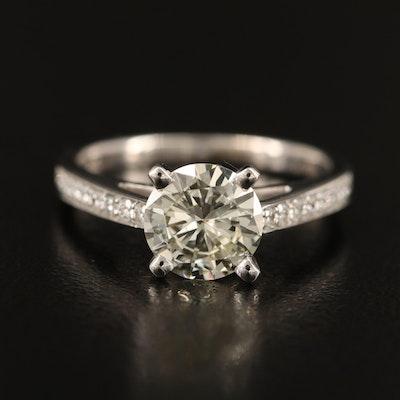 18K 1.48 CTW Diamond Ring with Platinum Mounting