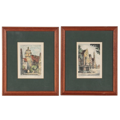 Hand-Colored Etchings of Rothenburg ob der Tauber, Mid-20th Century