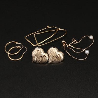 14K Hoop and Heart Earrings Including Pearls