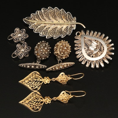 Sterling Cannetille and Filigree Cufflinks with Nefertiti Converter Brooch