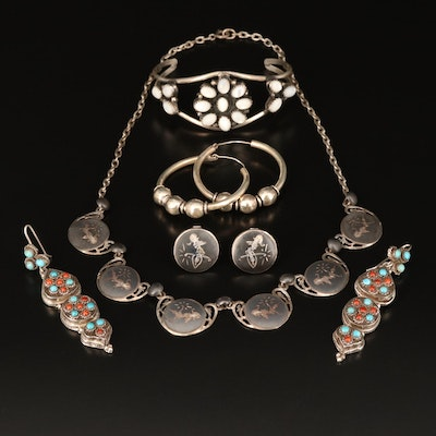 Sterling Grouping Including Niello, Coral, Mother of Pearl and Turquoise