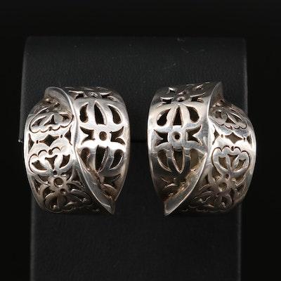 Vintage Sterling John Hardy Openwork Patterned Earrings