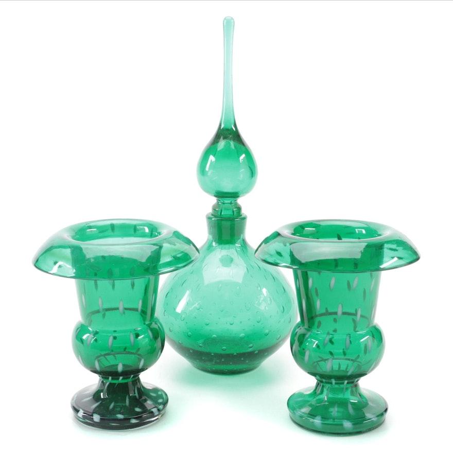 Blenko Green Art Glass Decanter with Czech Art Glass Vases