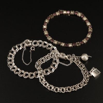 Vintage Rhinestone Bracelet with Double Curb Link Bracelets