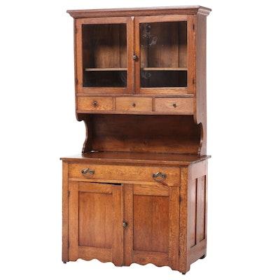 American Primitive Oak and Poplar Kitchen Cupboard, Late 19th Century