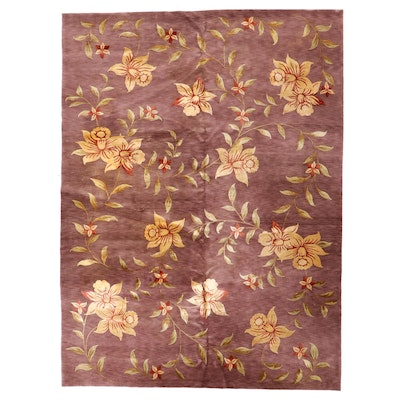 9' x 12'1 Hand-Knotted Silk Blend Floral Room Sized Rug