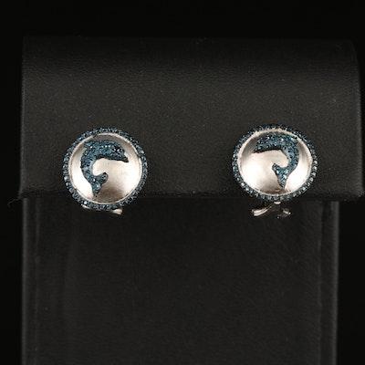 Sterling Diamond Dolphin Button Earrings