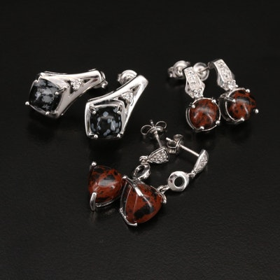 Sterling Earring Including Mahogany Obsidian, Topaz and Gemstones