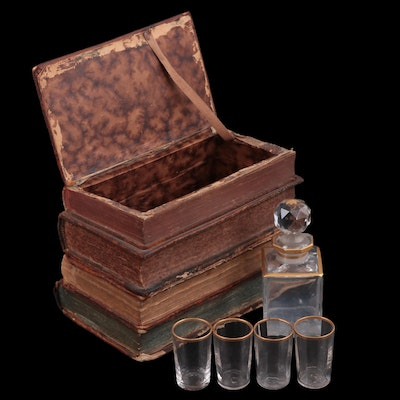 Leather Stacked Book Tantalus with Glass Decanter and Glasses, Mid-19th Century