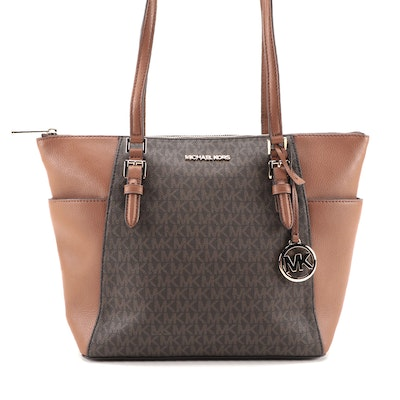 Michael Kors Charlotte Large Tote in Brown Logo Coated Canvas and Leather