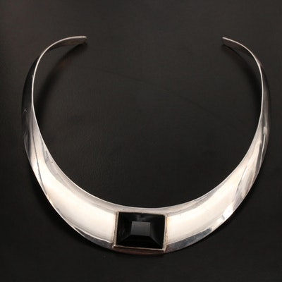 Mexican Sterling Silver Black Onyx Collar